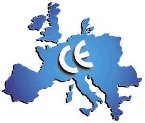 europe map with CE marking logo