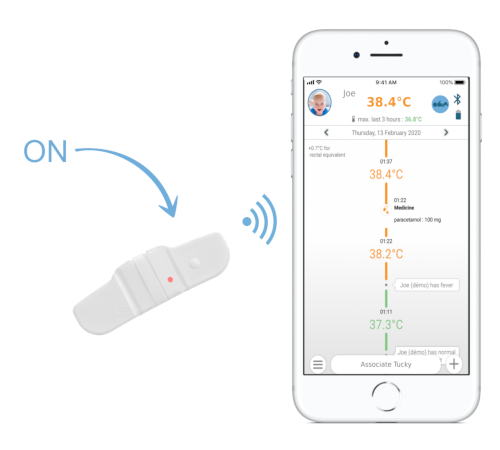 Association du thermomètre Tucky au smartphone - Combining the Tucky thermometer with the smartphone - Termómetro Tucky combinado con smartphone